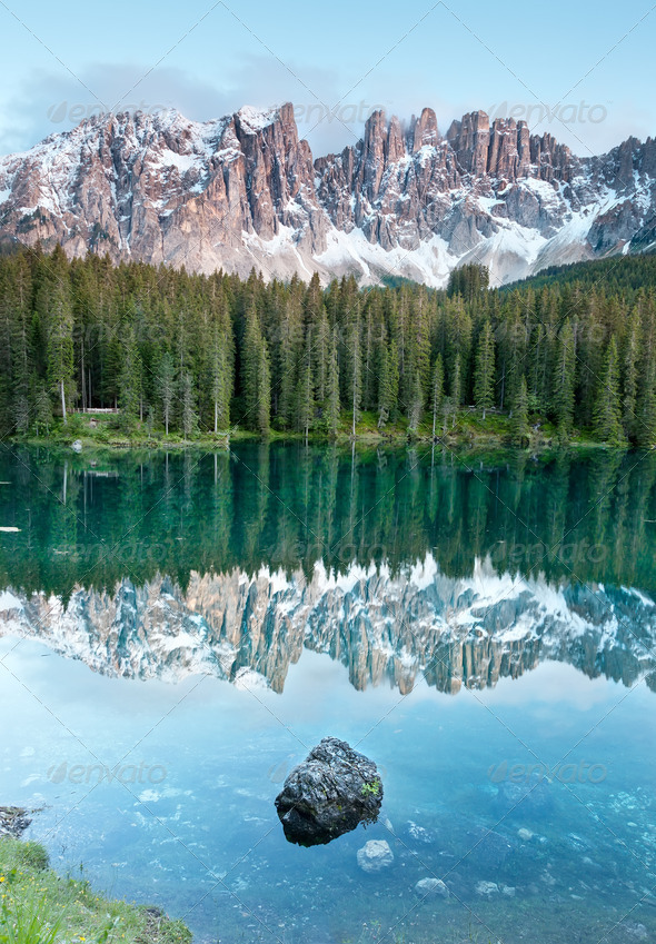Karersee, lake in the Dolomites in South Tyrol, Italy. - Stock Photo - Images