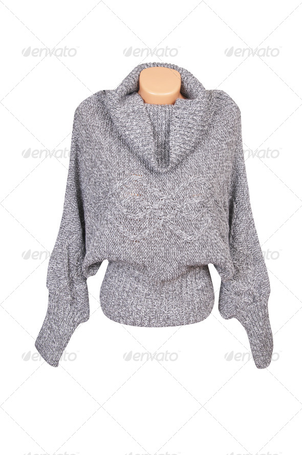 Modern gray sweater on a white. - Stock Photo - Images
