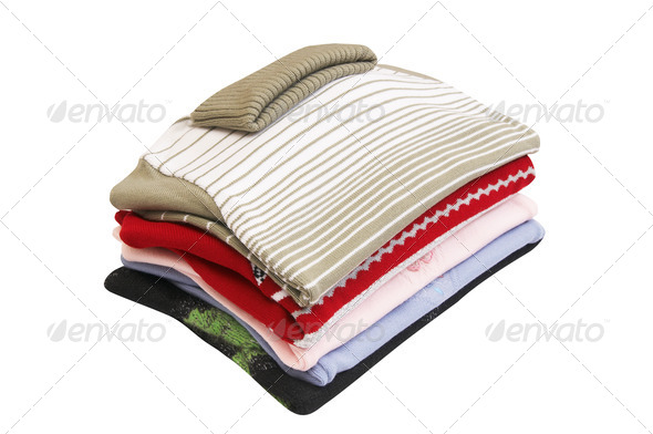 Colorful,splendid sweaters on a white. - Stock Photo - Images