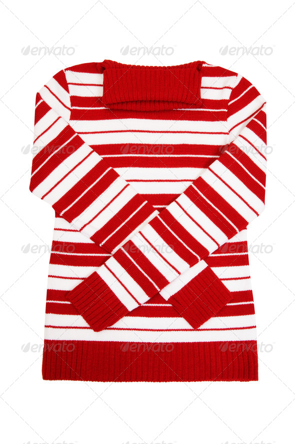 Winter comfortable sweater on a white. - Stock Photo - Images