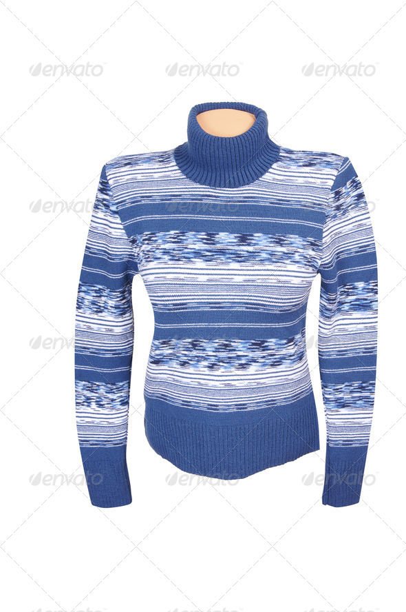 Blue stylish sweater on a white. - Stock Photo - Images