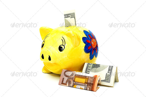 Currency and piggy. - Stock Photo - Images