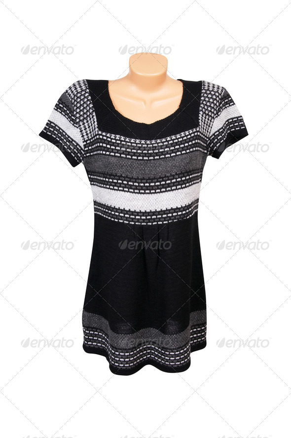 Fashionable striped dress on a white. - Stock Photo - Images