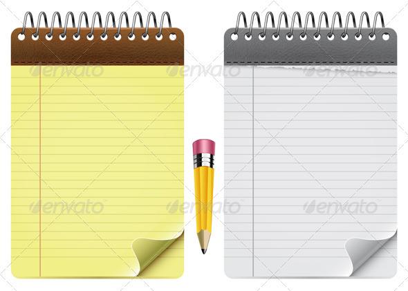 Notepads And Pencil - Web Elements Vectors