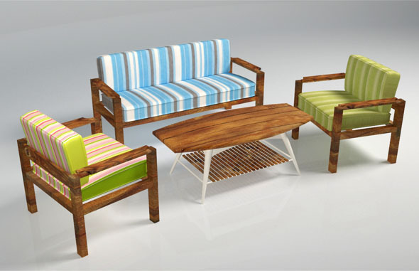 Wooden Sofa Pack   3DOcean Item For Sale