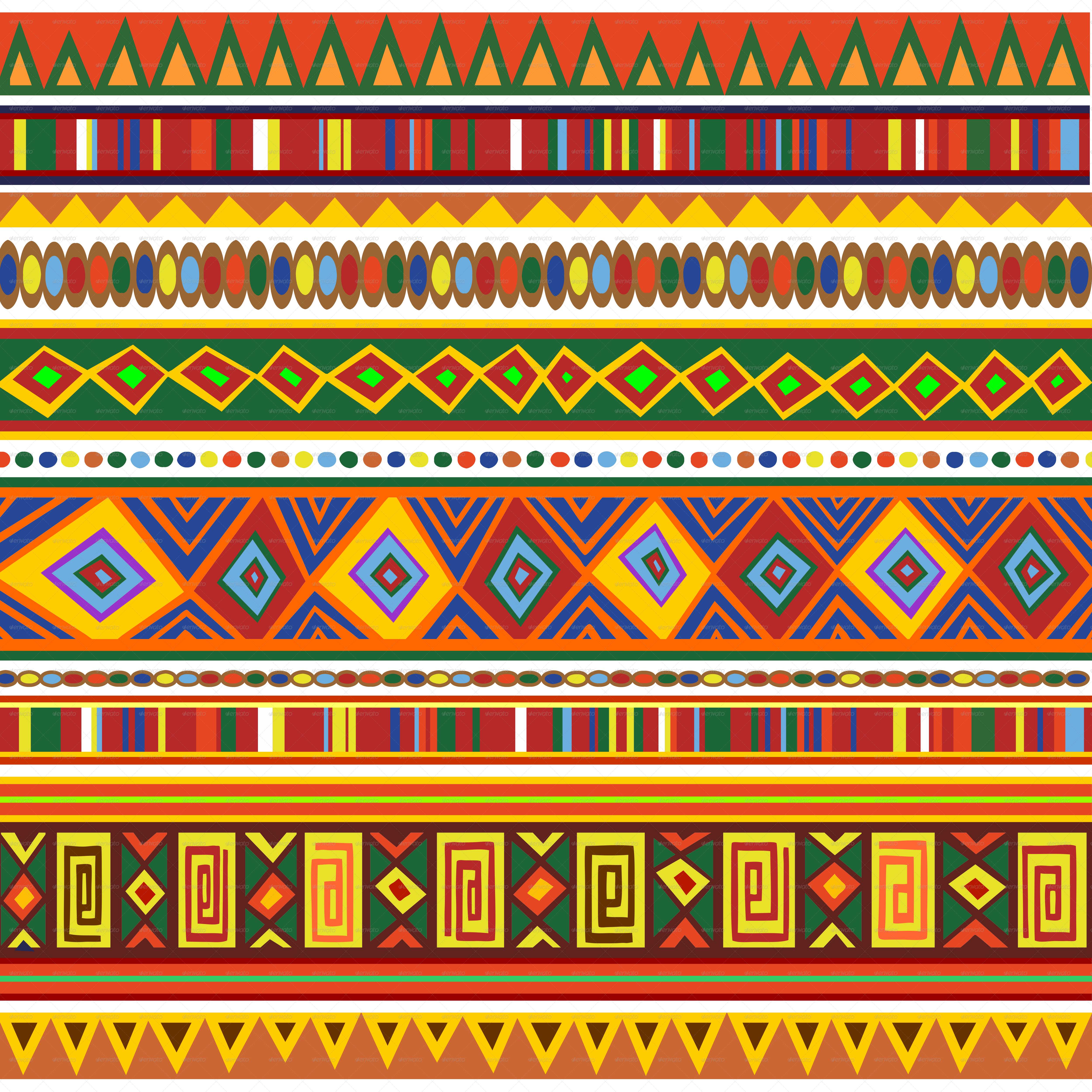 Ethnic Colorful Pattern Africa Art By Bluedarkat