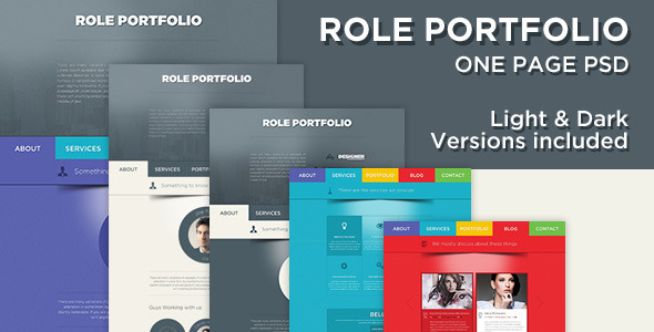Role – One Page Portfolio PSD Template