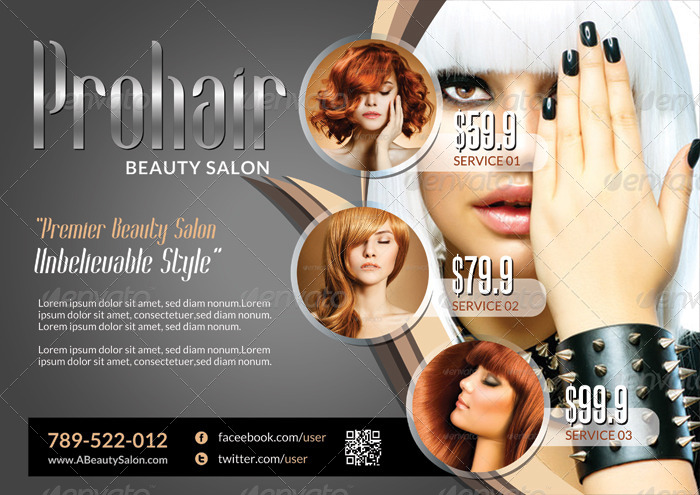 Modern Beauty Salon - Flyer Template By Katzeline | Graphicriver