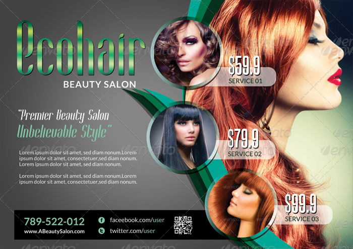 Modern Beauty Salon  Flyer Template By Katzeline  Graphicriver
