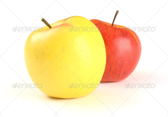 Two Apples - Red And Yellow - Stock Photo - Images