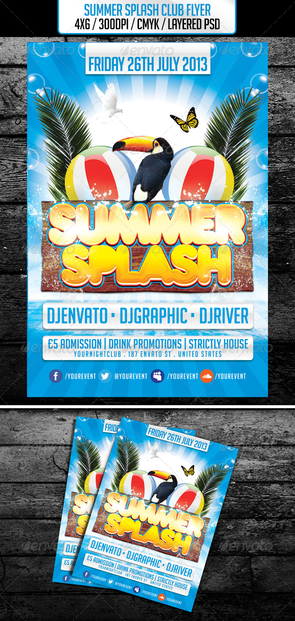 Summer Splash Club Flyer - Clubs & Parties Events