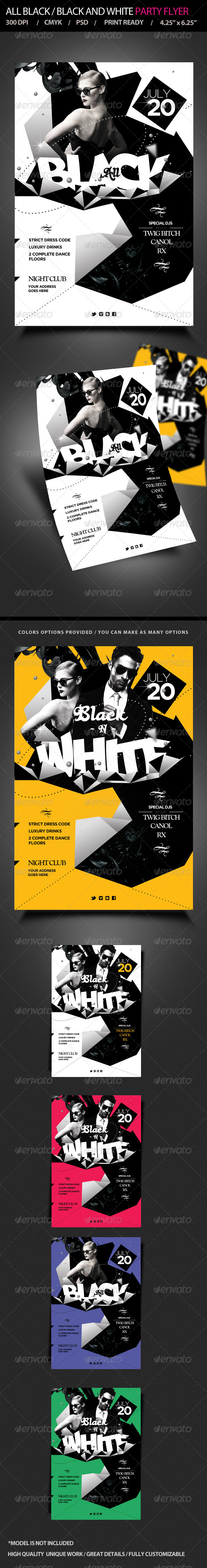 All Black / Black and White  Party Flyer - Clubs & Parties Events