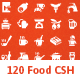 120 Food and Kitchen Custom Shape (Set 2) - GraphicRiver Item for Sale