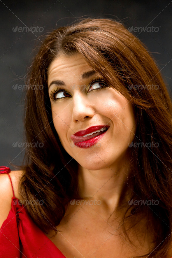 Woman licking lips - Stock Photo - Images