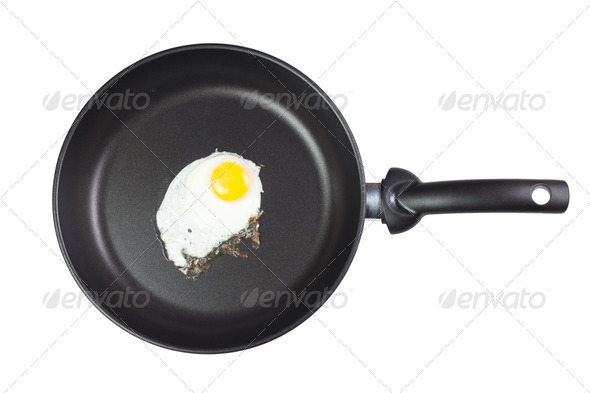 Fried Egg In A Frying Pan Isolated Over White - Stock Photo - Images