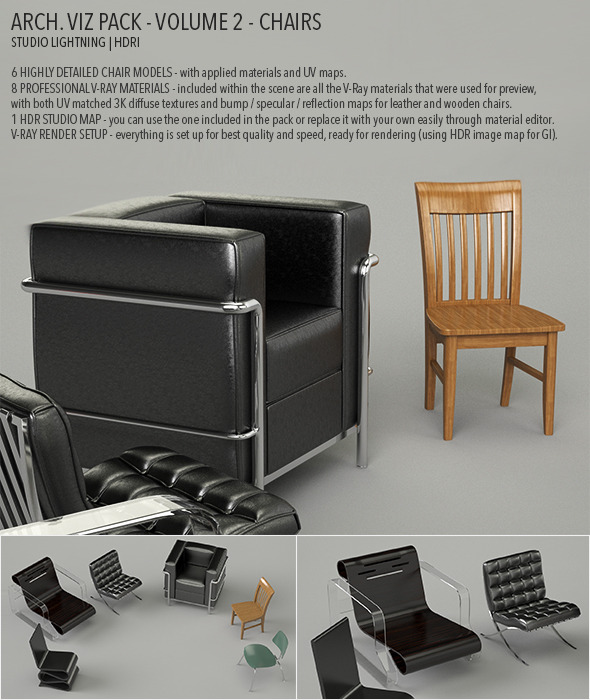 Arch Viz Pack Volume 2 - Chairs - 3DOcean Item for Sale