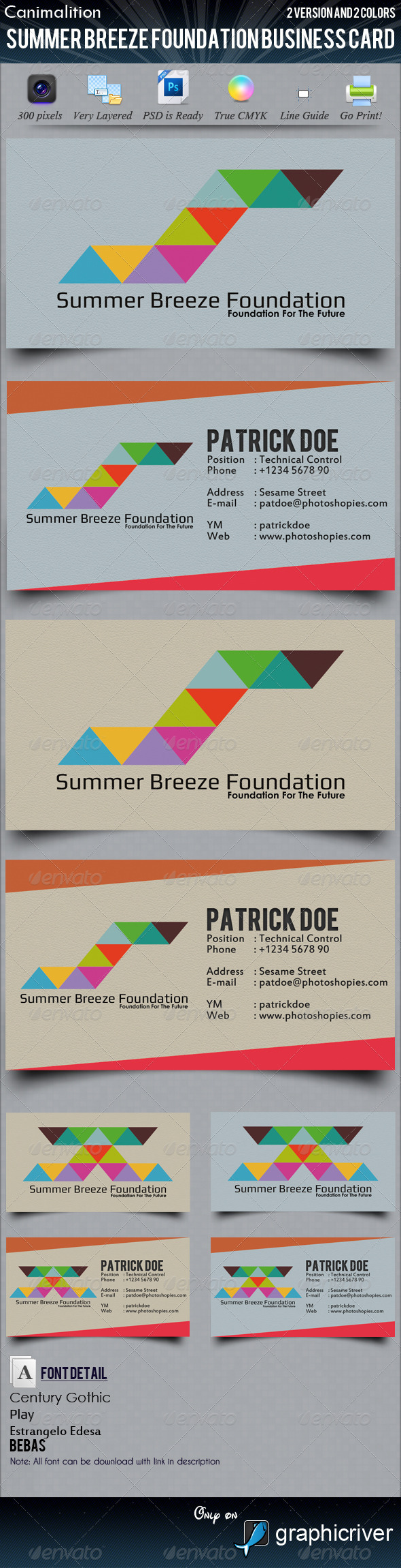 Summer Breeze Foundation Business Cards - Corporate Business Cards