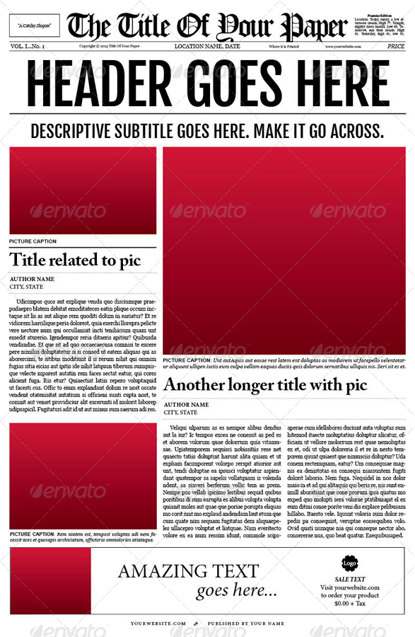 Old Style Newspaper Template By Tedfull  Graphicriver