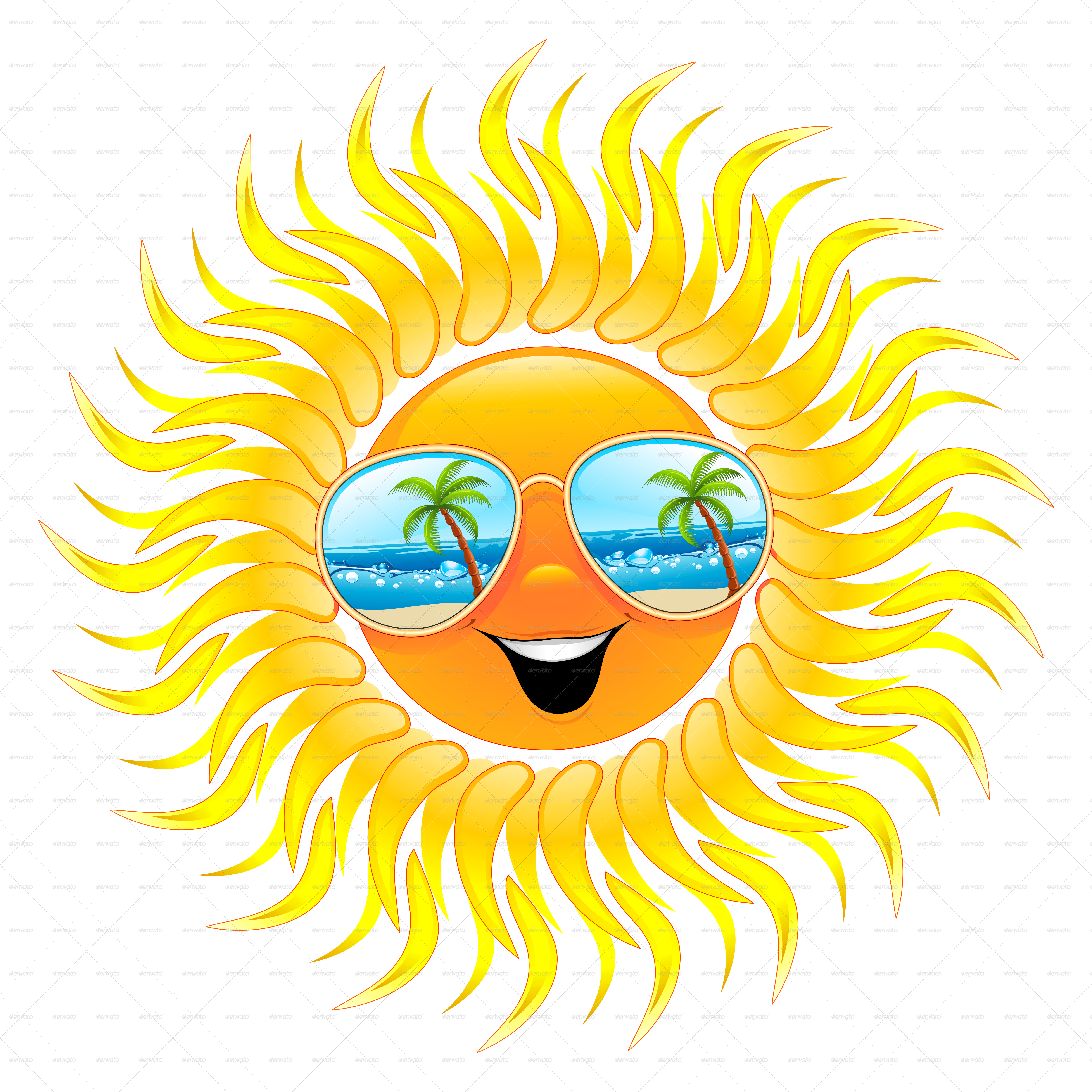 summer sun cartoon with sunglasses by bluedarkat