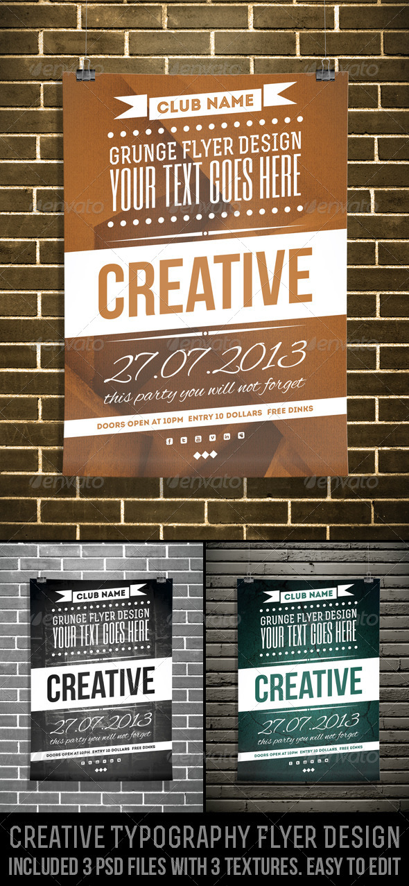 Creative Typography Flyer Design By Djjeep  Graphicriver