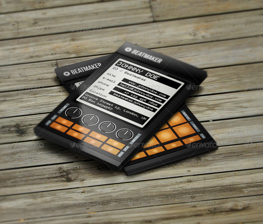 Pro Beatmaker DJ Business Card by vinyljunkie | GraphicRiver