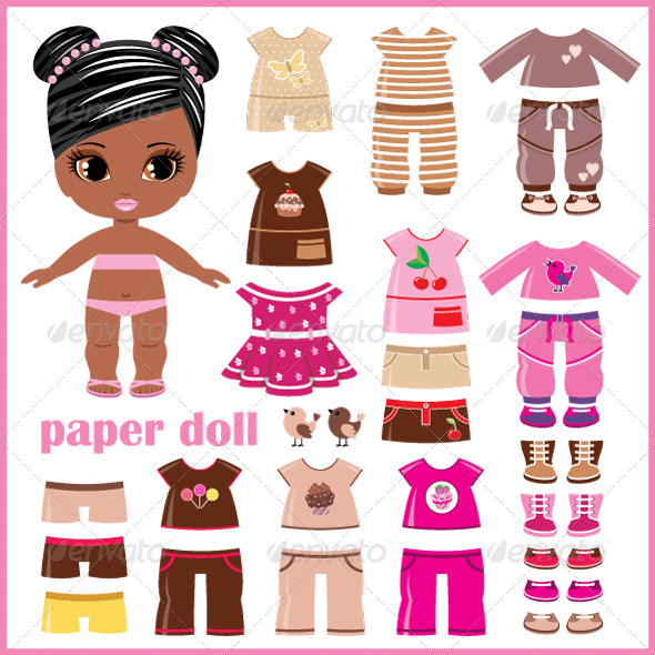 paper doll with clothes set objects vectors