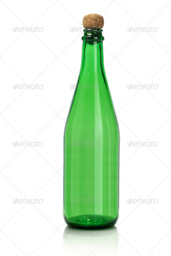 Green Empty Glass Bottle - Stock Photo - Images