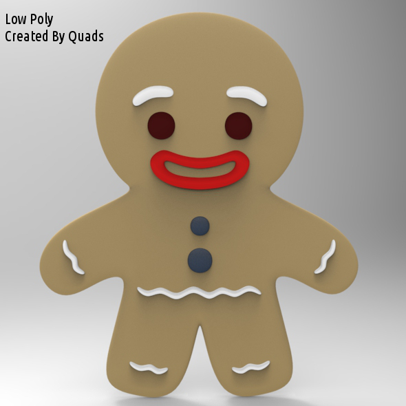 Gingerbread Man Low Poly - 3DOcean Item for Sale