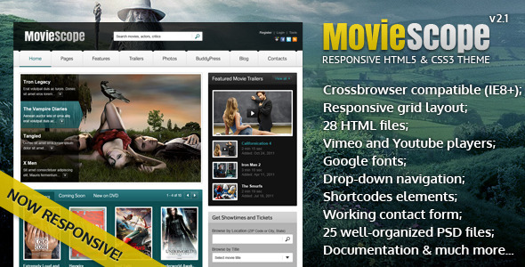 Image of MovieScope -HTML5 & CSS3 Portal Template