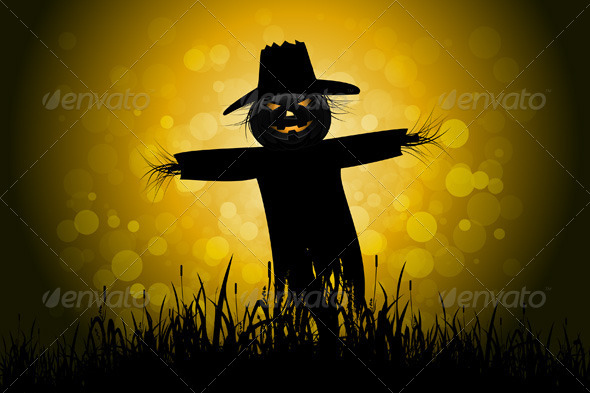 Halloween Background with Scarecrow - Halloween Seasons/Holidays