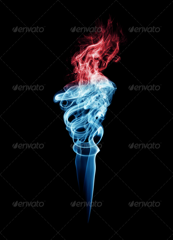 Blue And Red Torch-Shaped Smoke - Stock Photo - Images