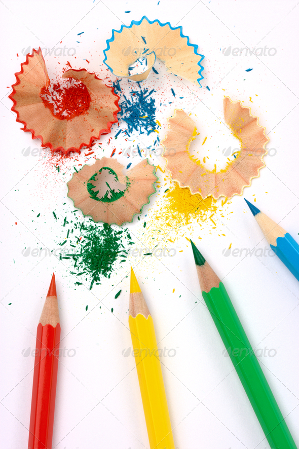 Color Crayons With Shavings - Stock Photo - Images