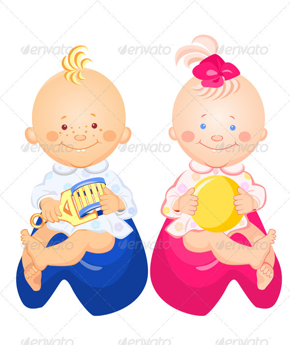 Baby boy and girl are sitting on the pots - People Characters