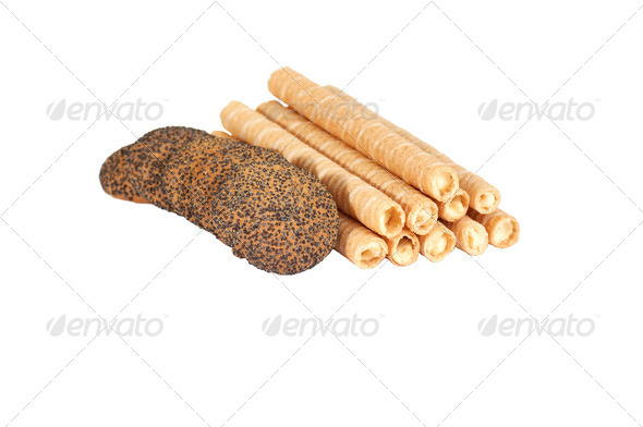 Tasty cookie with seeds of poppy. - Stock Photo - Images