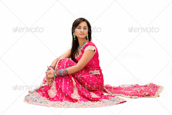 Beautiful Bangali bride sitting - Stock Photo - Images