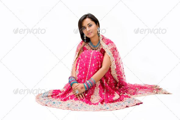 Beautiful Bangali bride sitting - Stock Photo - Images