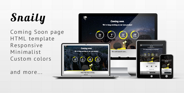 Snaily - Responsive Coming Soon HTML Template - Under Construction Specialty Pages