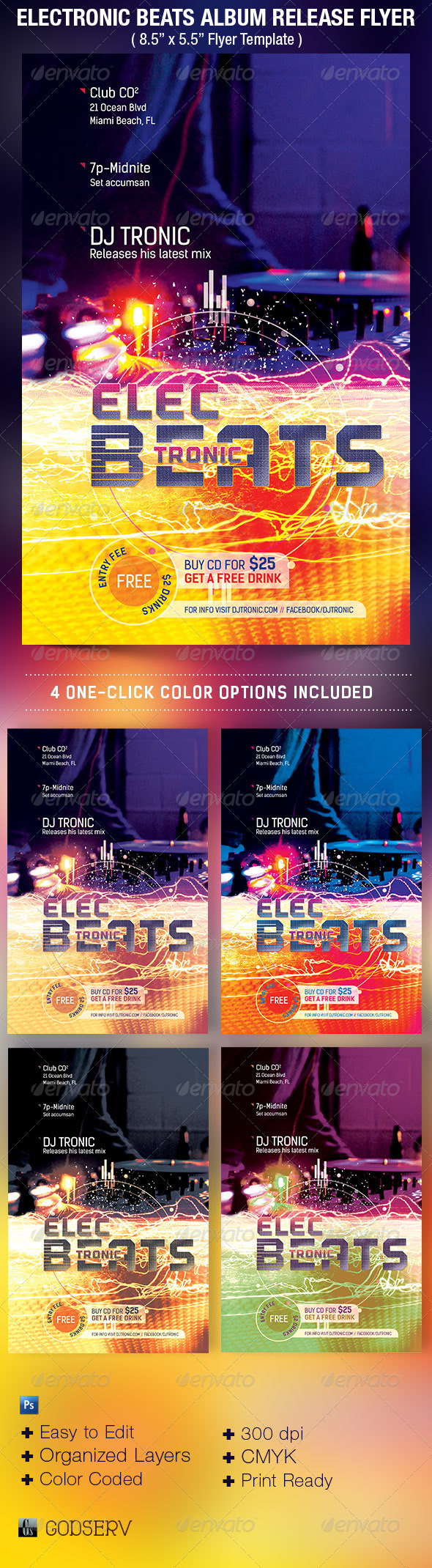 Electronic Beats Album Release Flyer Template - Events Flyers
