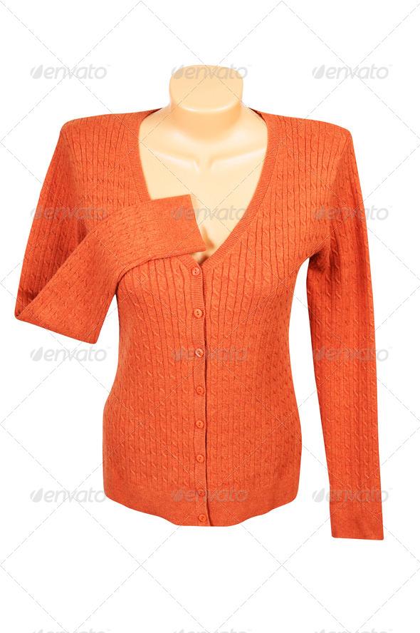 Elegant orange jumper  on a white. - Stock Photo - Images