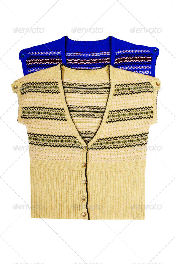Stylish  warm waistcoats on a white - Stock Photo - Images