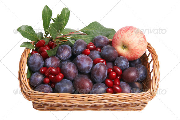Beautiful fruits in the wooden basket. - Stock Photo - Images