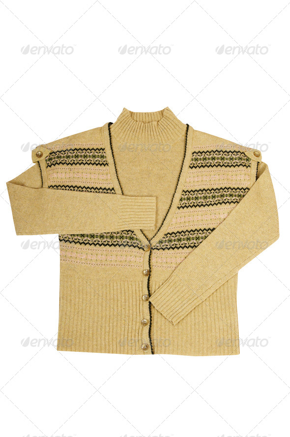 Stylish  warm vest and sweater on a white. - Stock Photo - Images