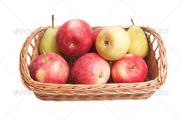 Autumnal  basket with fruits on a white - Stock Photo - Images