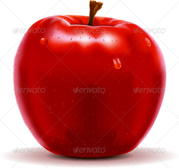 Red Apple Isolated On White By Aurielaki Graphicriver