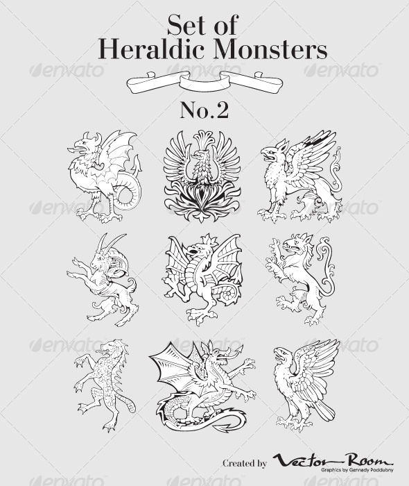 Set of Heraldic Monsters - Monsters Characters
