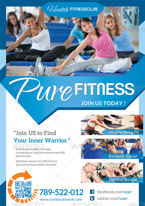 Pure Fitness - Go Gym - Flyer Template By Katzeline | Graphicriver
