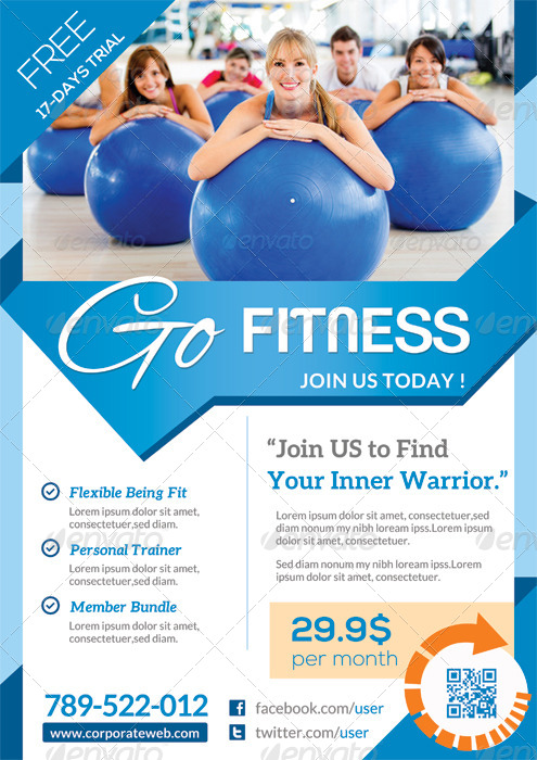 Pure Fitness Go Gym Flyer Template By Katzeline Graphicriver