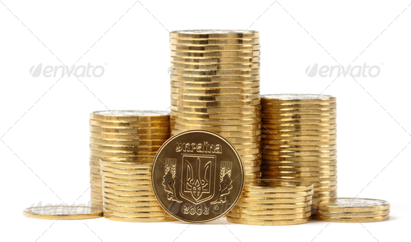 Closeup Of Ukrainian Coins - Stock Photo - Images