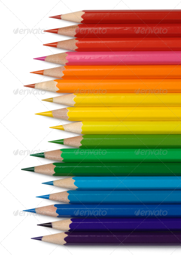 Colorful Crayons Arranged In Line By Colors - Stock Photo - Images