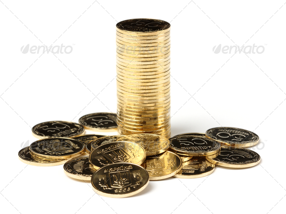 Closeup Of A Golden Coins - Stock Photo - Images